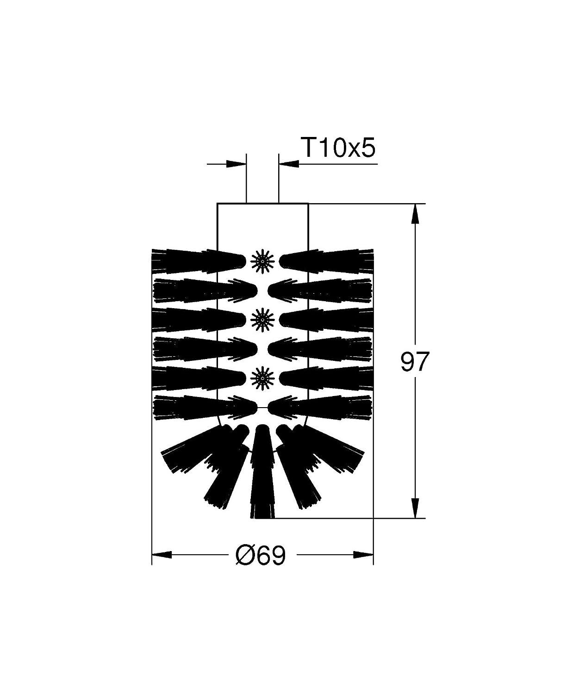schwarz Badaccessoires WC-Ersatzb/ürste GROHE Essentials 40791KS1