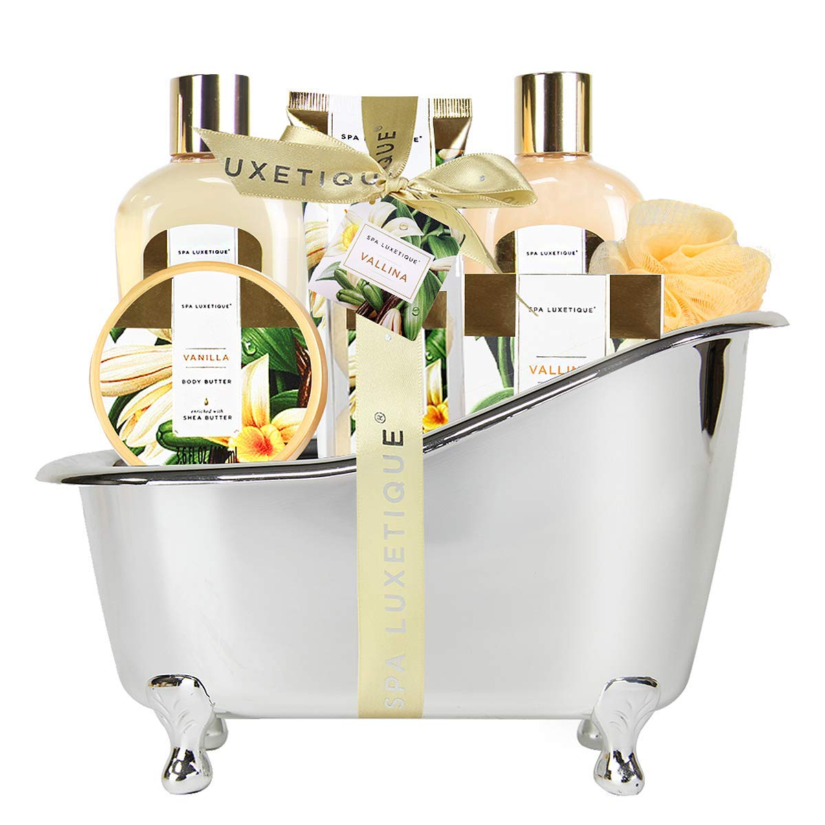 Spa Luxetique Spa Gift Basket, Bath and Body Gift Set, Bath Sets for Women Gift, Luxury 8 Pcs Home Bath Set Includes Body Lotion, Bath Bombs, Bath Salt, Best Gift Set for Women.