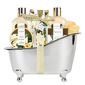 Spa Luxetique Spa Gift Basket, Bath and Body Gift Set, Bath Sets for Women Gift, Luxury 8 Pcs Home Bath Set Includes Body Lotion, Bath Bombs, Bath Salt, Best Gift Set for Women.