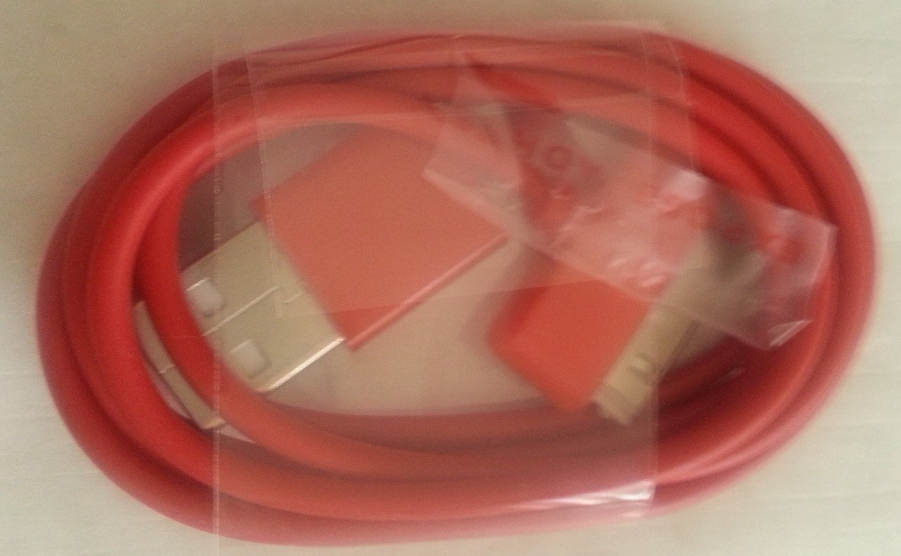 JEXON (TM) USB Data Sync Cable - Compatible With Apple iPhone 4 4S - RED