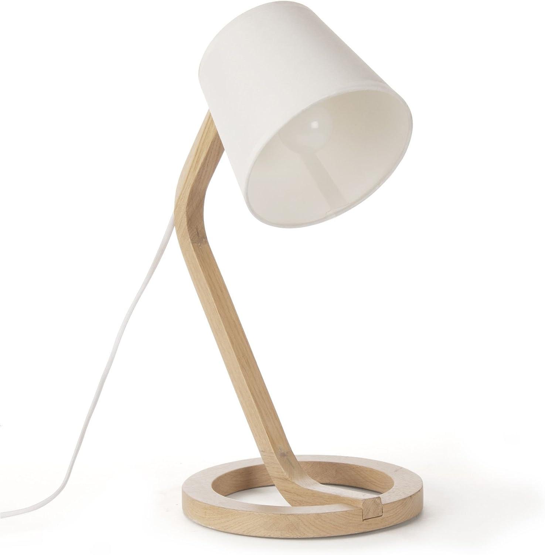 Mokuzai Lampe à poser scandinave en chêne et coton H41cm