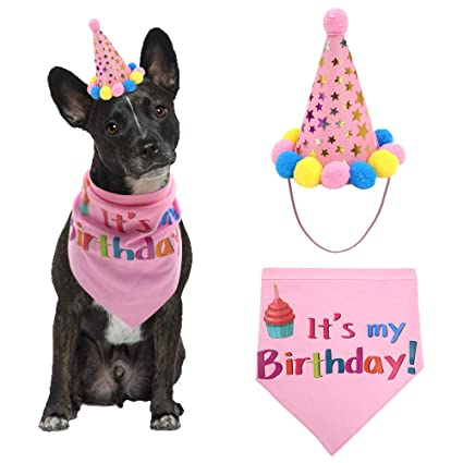 PUPTECK Dog Birthday Bandana Scarfs With Cute Girl Doggie Party Hat Pink