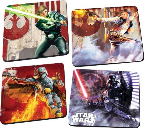 Coaster Kitchen - Vandor 99085 Star Wars 4 pc Wood Coaster Set, Multicolor
