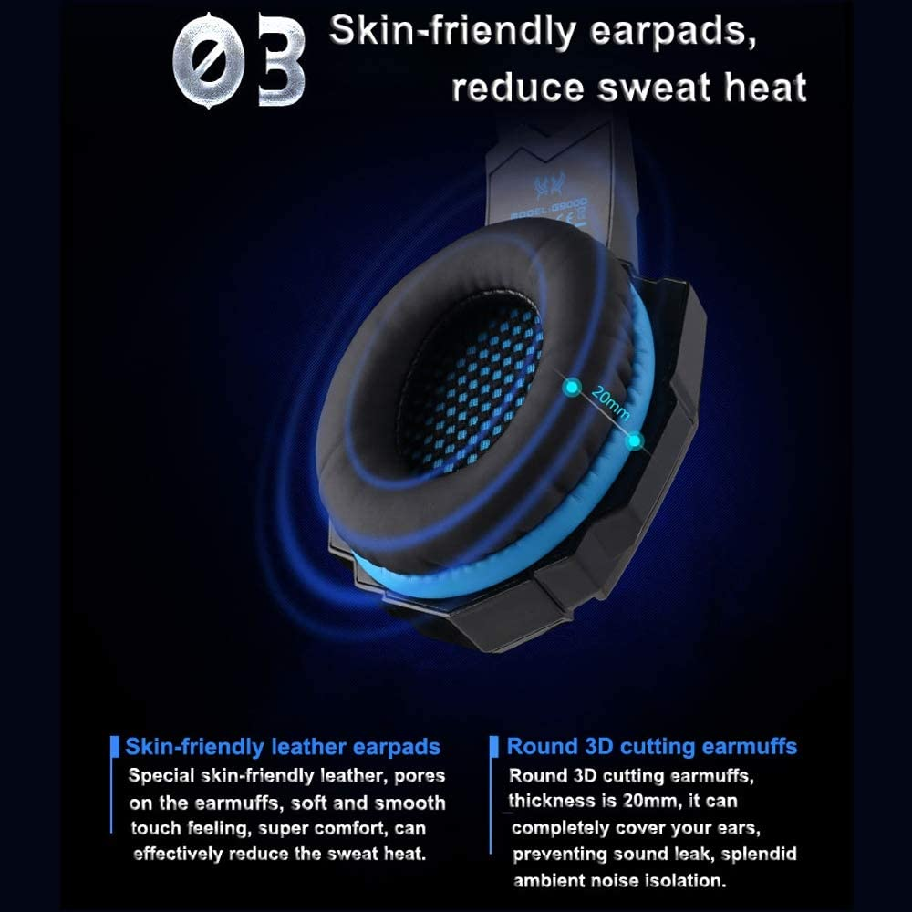 ICVDSRG Headset 7.1 Channel Computer Gaming Headset with Microphone USB Notebook Headset,Blue