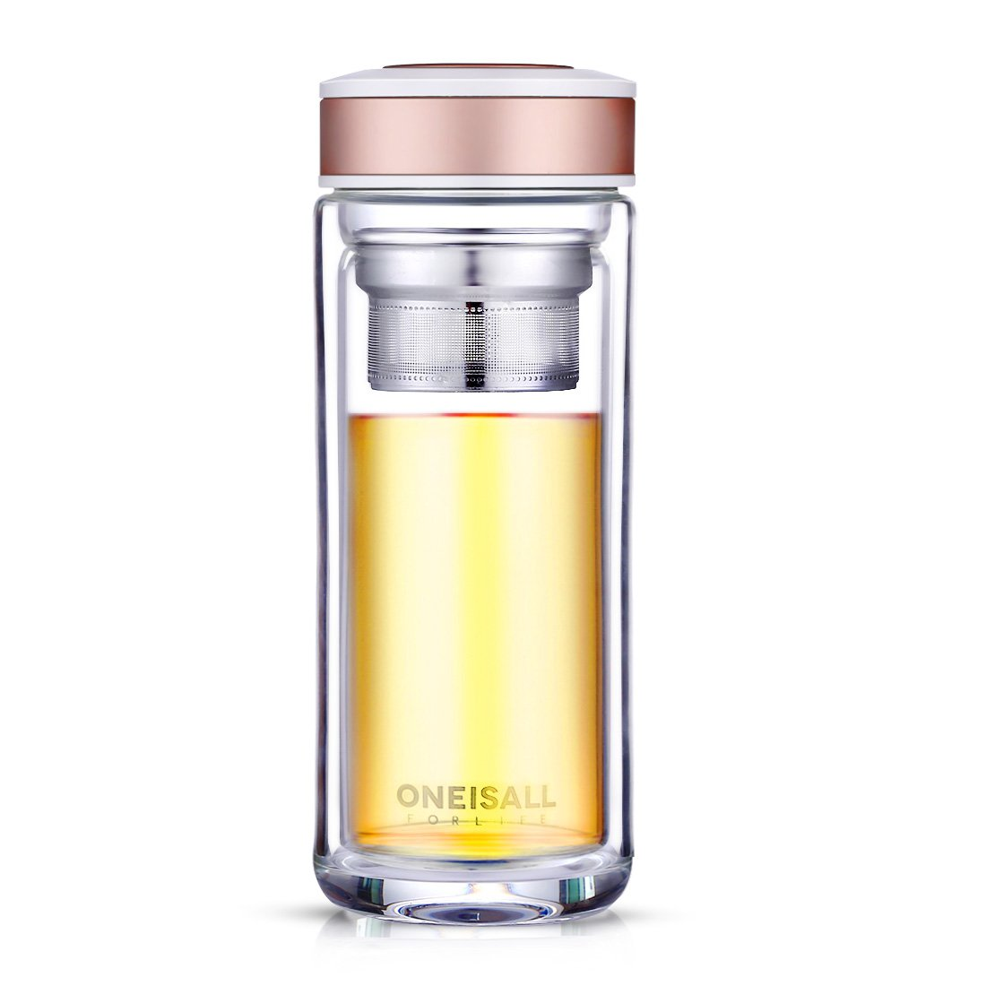 ONEISALL GYBL366 Glass Tea Tumbler with Infuser Ultra Clear Spill-Proof Double Wall Borosilicate Glass Travel Tea Mug for Loose Leaf Tea and Fruit Water, 480ML (Champagne) GYBL366004