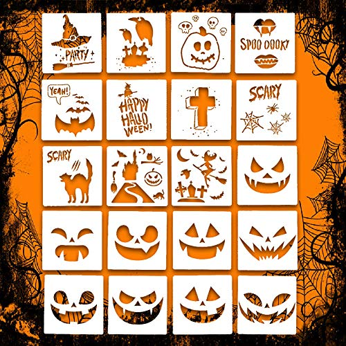 Halloween Smiley Symbols (Halloween Stencil Set Template DIY Decor Stencils Craft Scrapbooking 20 PCS Leaflai Plastic Drawing Cards Use on Cookies Wall Glass Fabrics Wood Cards Posters Pumpkin Lantern Witch Haunted)