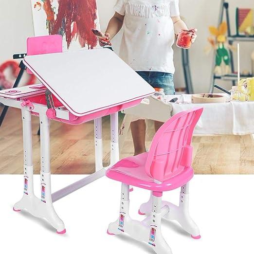 Neufday Rosa Simple Mesa de Estudio Silla Pintura Aprendizaje ...