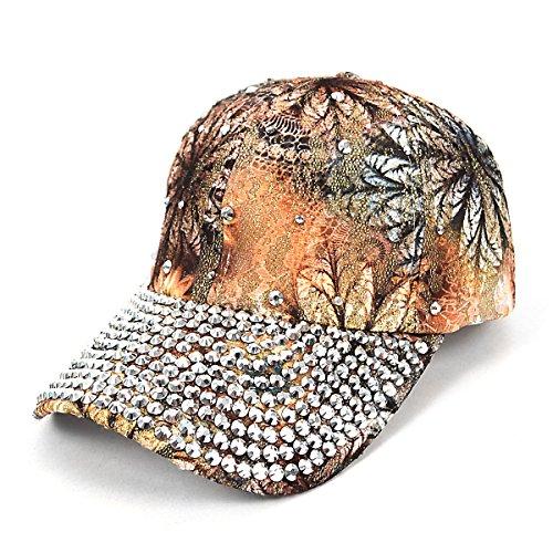 Embellished Hat Flower (Rhinestone Bling Embellished Tan Flower Baseball Cap)