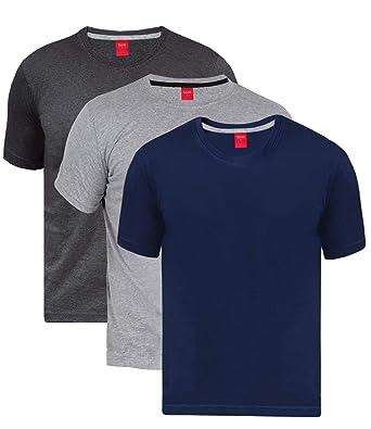 a75e07cb23c Scott Men s Biowash Cotton Round Neck Half Sleeve Solid T-Shirts - Pack of 3