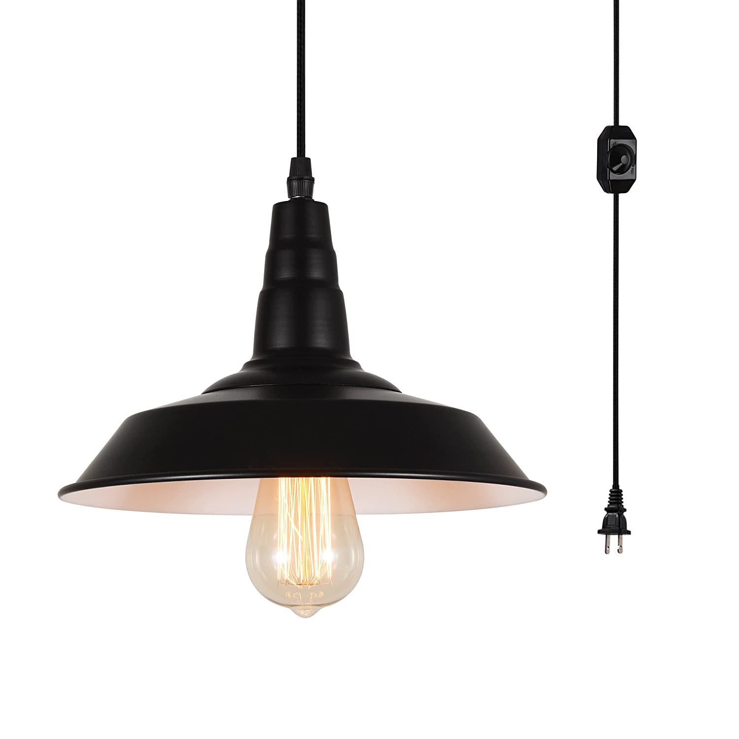 Hmvpl industrial plug in pendant lighting fixtures farmhouse hanging chandelier with long hanging cord and dimmer switch vintage black swag island lamp
