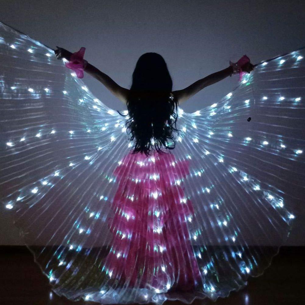 YIDOU Luz LED de Color para ni/ños Danza de ala Danza de Danza del Vientre Espect/áculo Capa de Mariposa Fluorescente sin bater/ía
