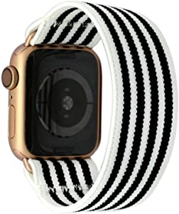 Tefeca Stripe Pattern Elastic Compatible/Replacement Band for Apple Watch 38mm/40mm (Gold Adapters, M fits Wrist Size : 6.5-7.0 inch)