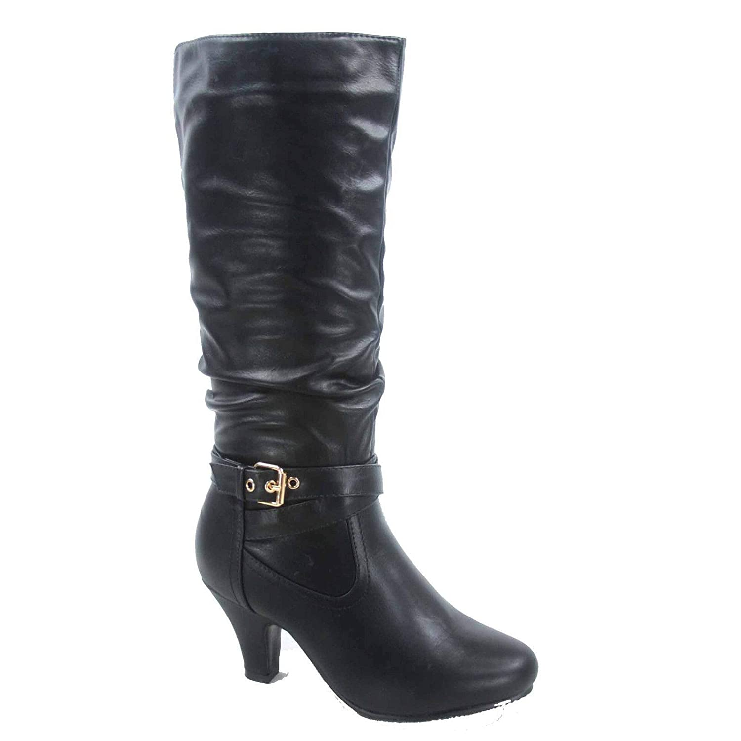 Black Forever Link FZ-Kale-10 Women's Fashion Buckle Strap Slouch Zipper Low Heel Mid-Calf Boot shoes