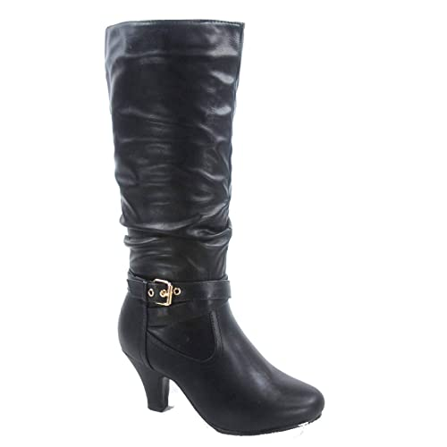 Forever Link FZ Kale 10 Women's Fashion Buckle Strap Slouch Zipper Low Heel Mid Calf Boot Shoes