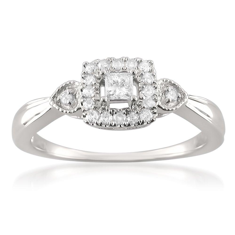10k White Gold Princess-cut & Round Diamond Halo Promise Ring (1/4 cttw, I-J, I1-I2), Size 8