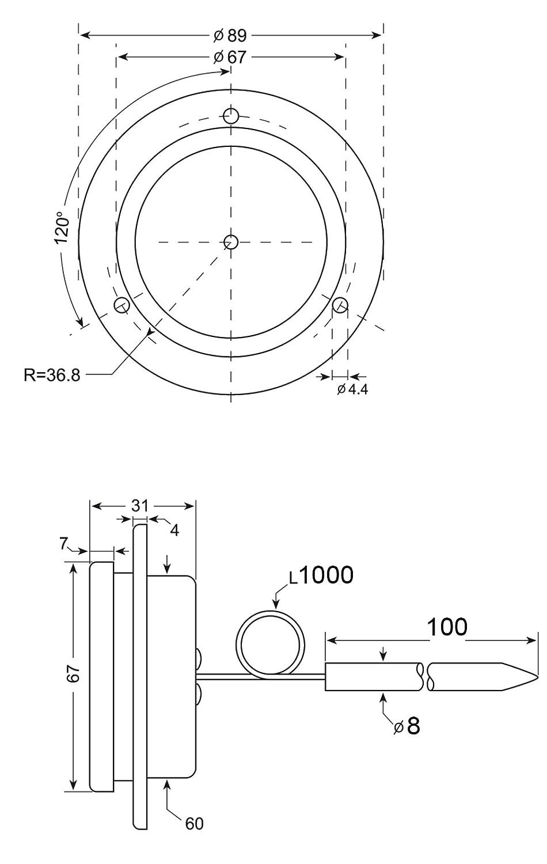 REDPOINT SPARES PIROMETRO/Termómetro 0-600° para hornos Pizza, BBQ ...