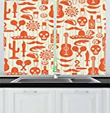 Ambesonne Mexican Kitchen Curtains, Ethnic South American Culture Sombrero Mariachi Hats Skulls Guiatar Tacos Print, Window Drapes 2 Panel Set for Kitchen Cafe, 55 W X 39 L inches, Cream Orange