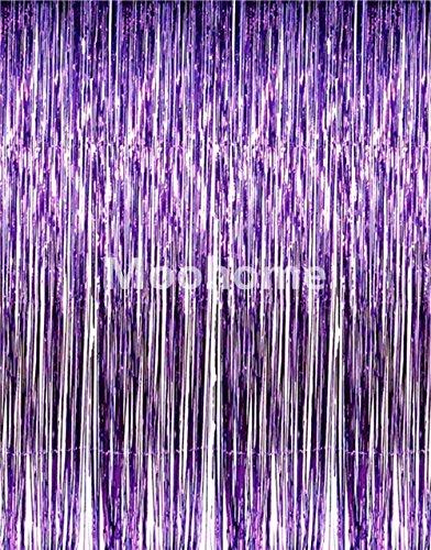Moohome Big 3ft x 8ft Tinsel Metallic Purple Foil Fringe Curtains Backdrop Door Window Curtain Party Decoration (2-Pack, Purple) (For Window Curtains A Big)