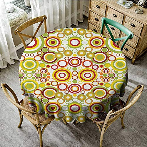 (familytaste Printed Tablecloth Geometric Decor Collection,Circles Round Disk Shaped Dots Swatches Contrast Brightly Colored Image Pattern,Yellow Green Red D 54
