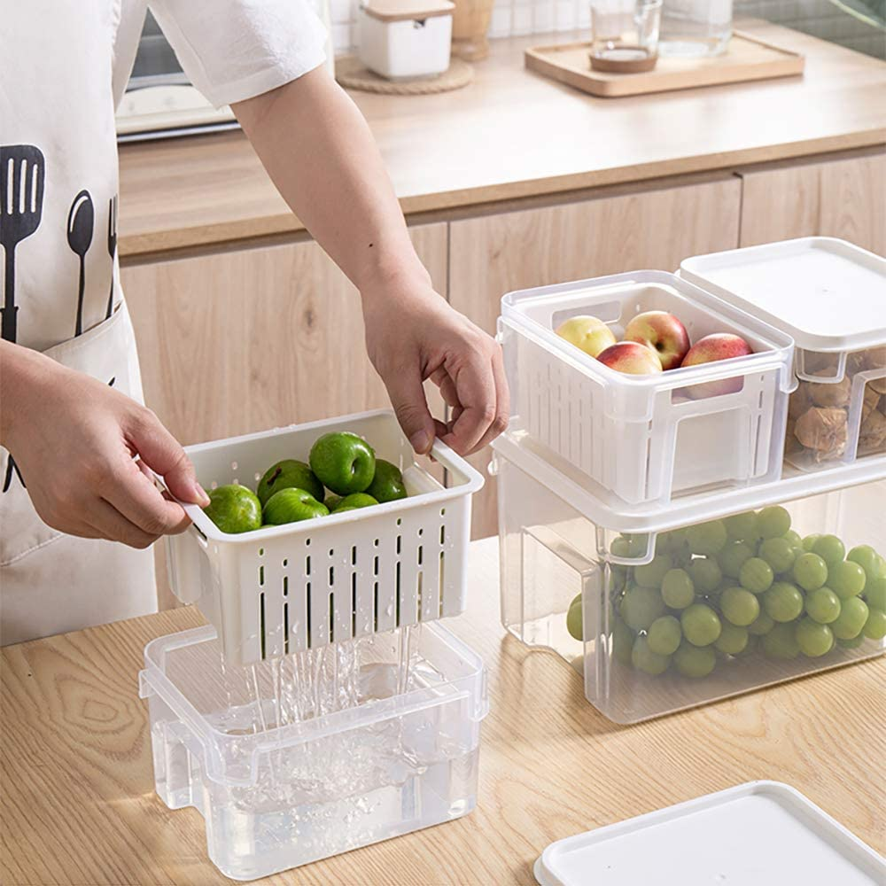 Fresh Keeper Produce Saver Fruit Vegetable Containers for Refrigerator, Food Container Set for Fridge(1.9L+7L)