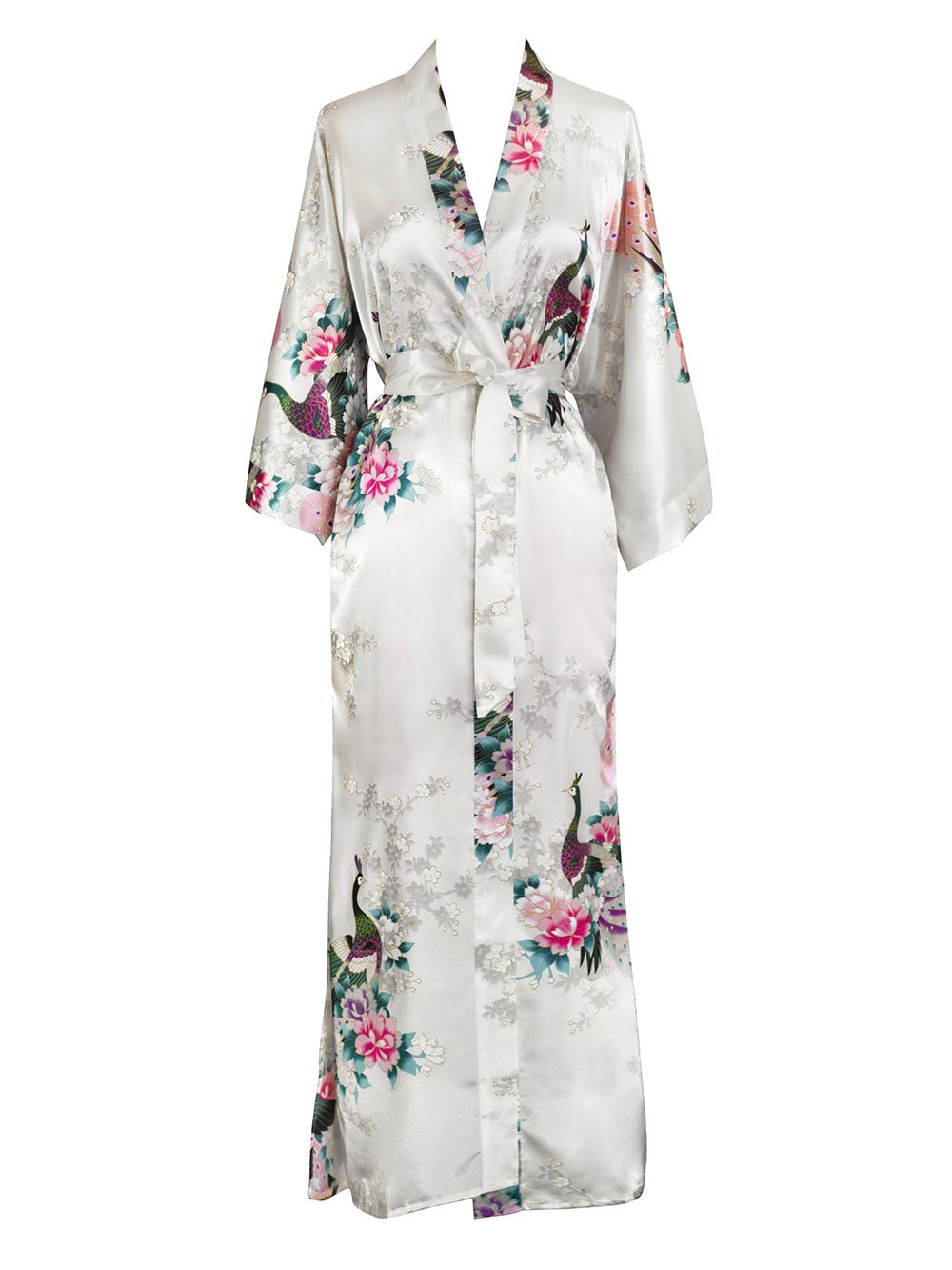Old Shanghai Women's Kimono Long Robe - Peacock & Blossoms - White,One Size Fits Most