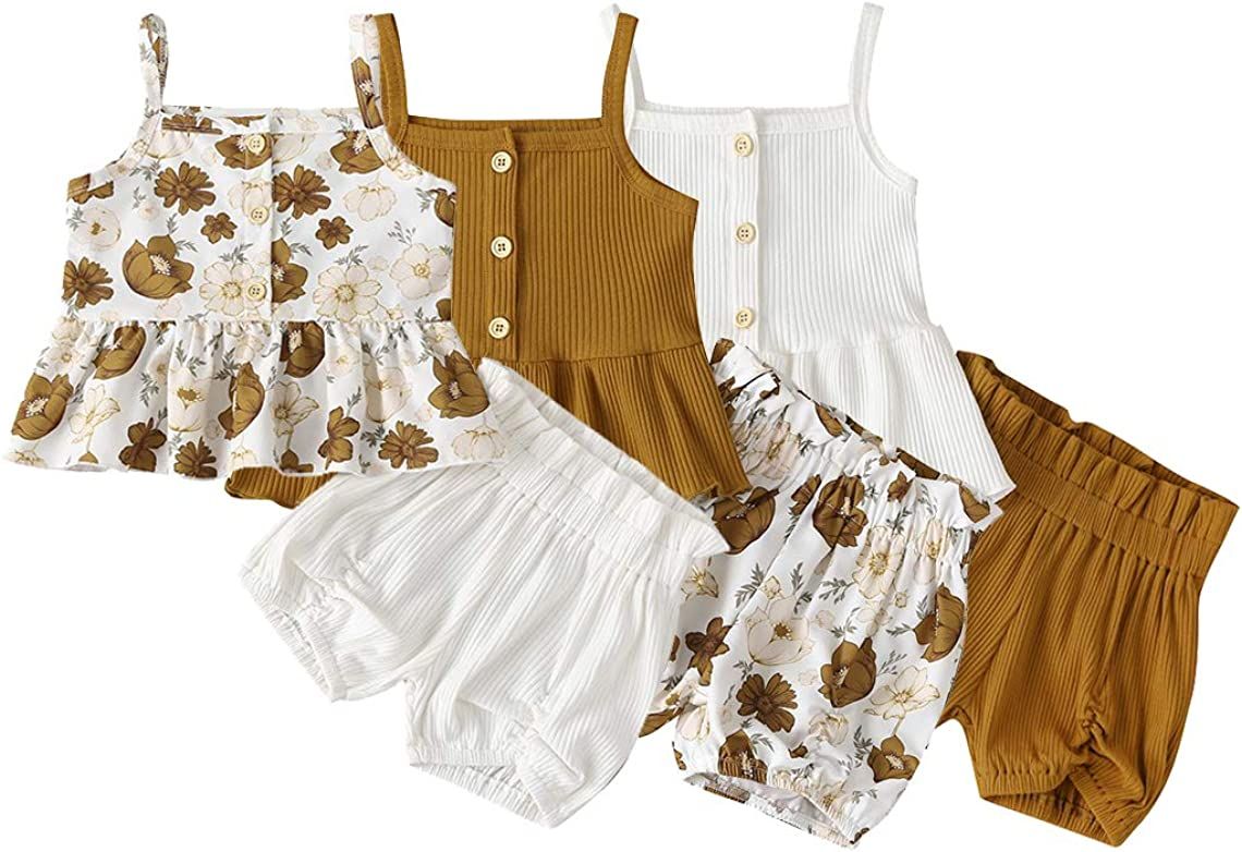 Sunflower Floral Shorts Pants with Headband for Summer Infant Clothes Sets Baby Girls Outfits 3Pcs Sleeveless Short T-Shirt