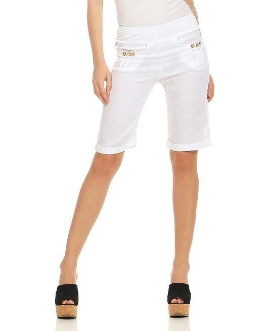 4b41116ae ZARMEXX Pantalones Cortos de Lino de Mujer Pantalones Cortos de Rodilla  Bermuda Pantalones Cortos de Slip