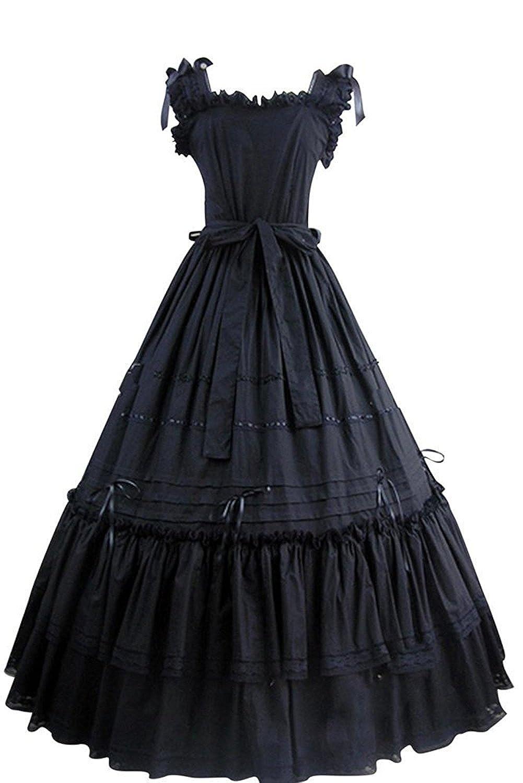 Lolita Dress Black Sleeveless Cotton Maxi Dress #410 *Custom Made*