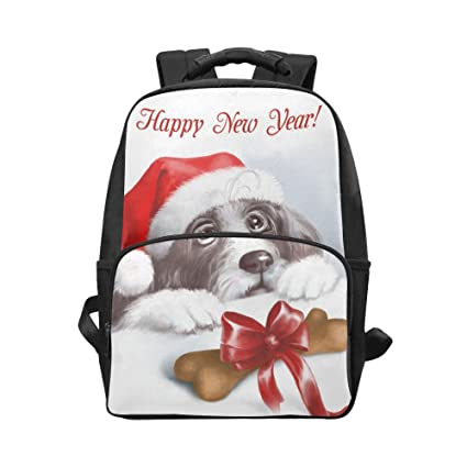 Interestprint Christmas Dog Santa Claus Custom Casual Backpack School Bag Travel Daypack