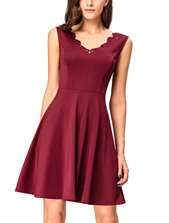 InsNova Women's Burgundy Cocktail Dresses Scalloped Pleated Ponte Fit and  Flare