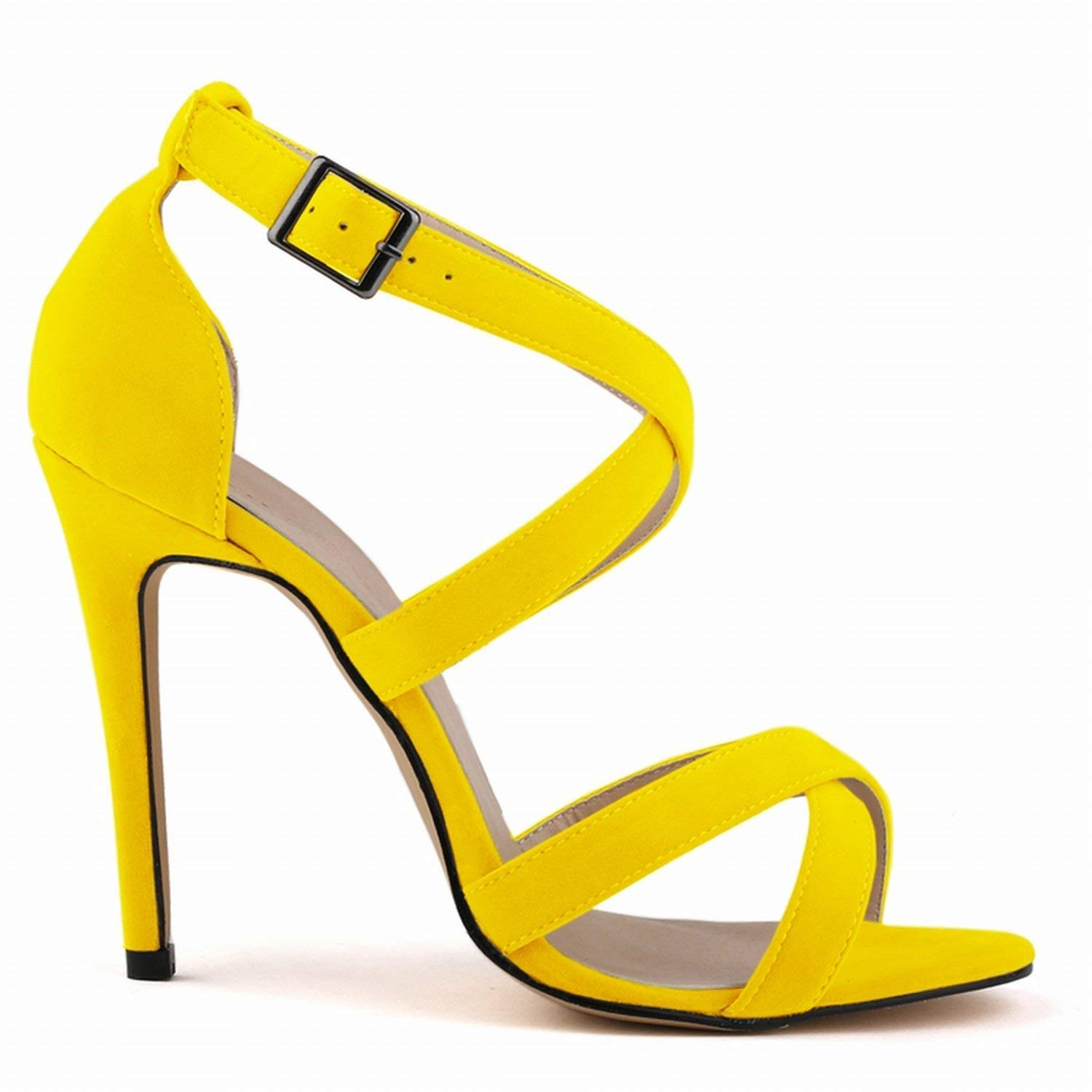 YELLOW coolemon New Summer Women high Heels Sandals shoes Woman Fashion Sexy Cross-Tied peep Toe Party Wedding Stiletto Buckle shoes