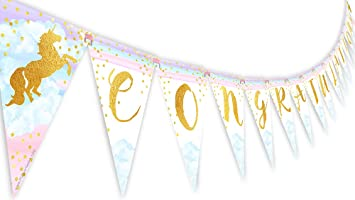 amazon magical unicorn rainbow congratulations banner pennant