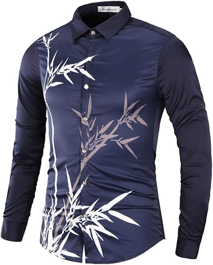 Yvelands Hombres Camisas Impresas, Hombres guapos Ocasionales Moda de impresión de bambú Camisas de Manga Larga Tops Slim Fit Camisetas: Amazon.es: Ropa y accesorios