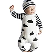 Gender Neutral Baby Clothes Boy Pajamas Newborn Coming Home Outfit Long Sleeve Bodysuit Romper Clouds Printed Stripes Clothes 6 Months