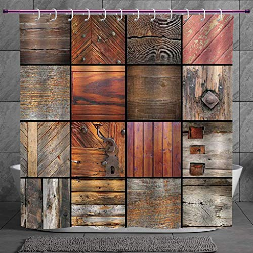 SCOCICI Fun Shower Curtain 2.0 [ Antique Decor,Collection of Different Wooden Architecture Elements Timber Door Key Materials Boho,Chocolate Brown ] Polyester Fabric Bathroom Shower Curtain