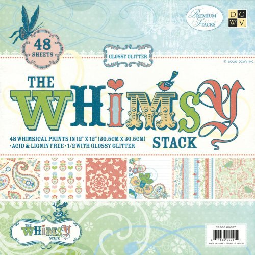 Diecuts with A View Whimsy Paper Stack, 12-inches-by-12-inches, -