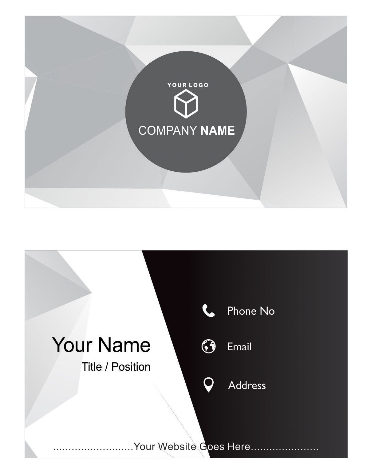 Design Your Own Personalized Business Cards Black & White Custom Logo Visiting Card- Front and Back