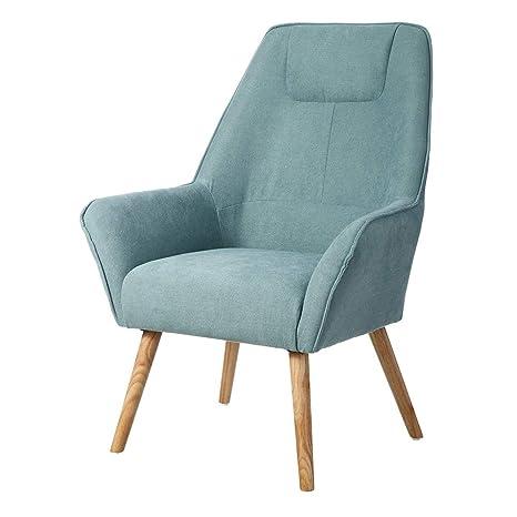 Sillón tapizado de Tela Azul nórdico para salón Iris ...