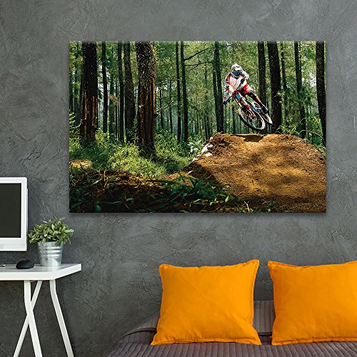 wall26 - Canvas Wall Art Sports Theme - Man Riding a Bike in The Forest - Giclee Print Gallery Wrap Modern Home Decor Ready to Hang - 16x24 inches -