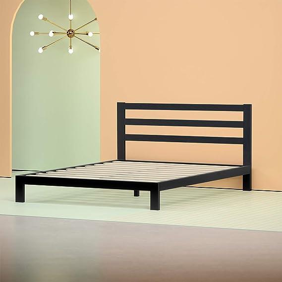 Zinus Arnav Modern Studio 10 Inch Platform 2000H Metal Bed Frame / Mattress Foundation / Wooden Slat Support / With Headboard, Twin