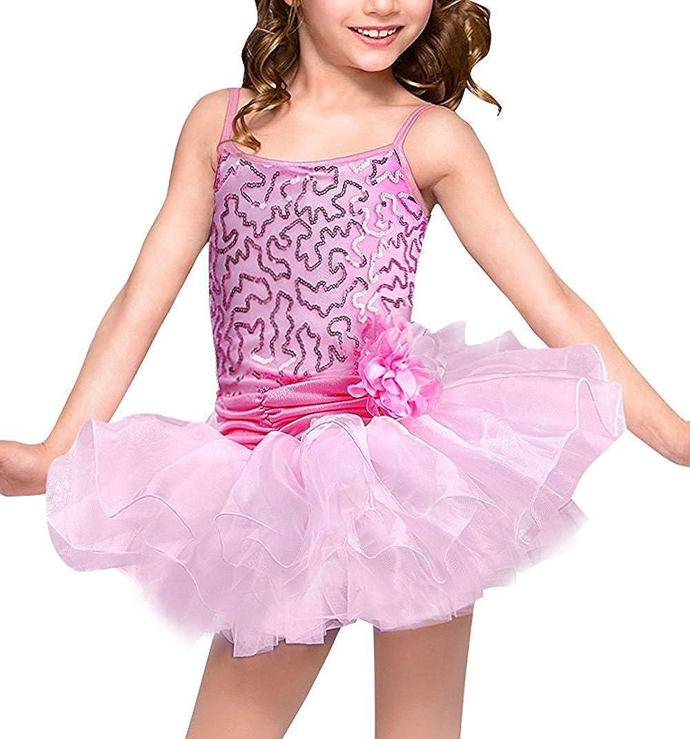 Kid Girls Flower Sequins Camisole Leotard Ballet Dance Tutu Skirted Dress