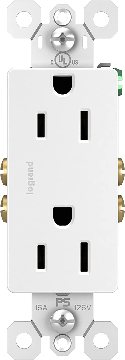 Legrand radiant 15 Amp Receptacle Decorator Outlet, White, 885WCC21