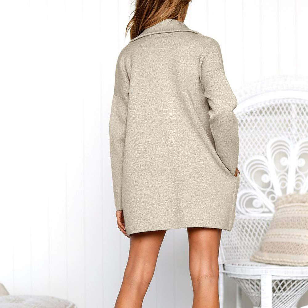 Fashion Womens Autumn Solid Color Lapel Neckline Long-Sleeved Jacket Long Coat Side Pocket