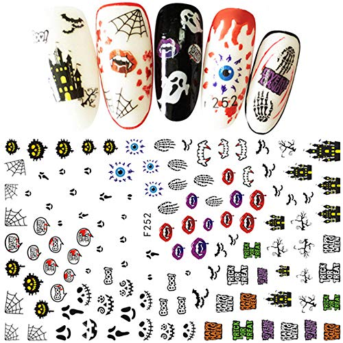 (Clearance Sale! Halloween Nail Sticker Tips for Girls, Iuhan Women's Halloween Nail Sticker Nail Decoration Horror Design Nail Decors)