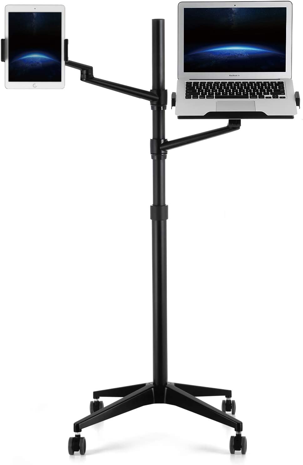 Upergo Tablet and Laptop Floor Stand with Wheels,2-in-1 Rolling Floor Stand with Dual Rotatable Arms for iPad and Laptop, Height Adjustable Mobile Workstation for 4~13
