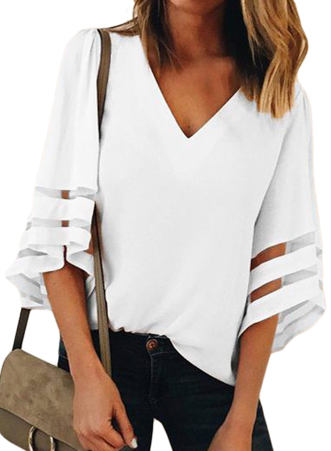 Towonder Womens 3/4 Bell Sleeve Deep V Neck Lace Patchwork Blouse Summer Chiffon Casual Loose Fit Shirt Flare Sleeve Tops (White, (US 16-18) X-Large)