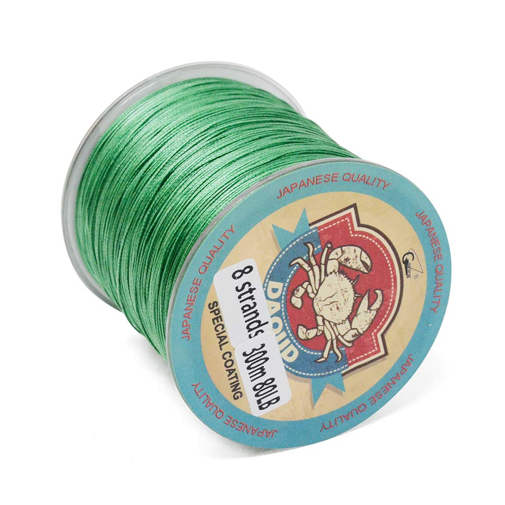 8 Strands Braided Fishing Line 300M (327 Yards) 10lb-108lb Abrasion Resistant, Highly Sensitivity, Zero Stretch and High Performance for Carp, Bass, Trout (moss green, 30lbs-0.23mm-13.6kg)