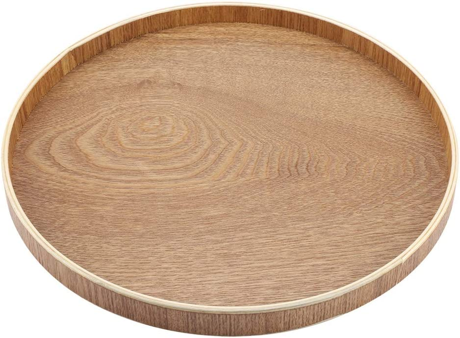 Wooden Serving Tray Round Plate for Tea Set Fruits Candies Food Home Decoration(30cm)
