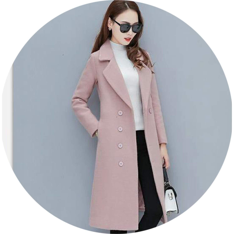 Pink Women Autumn Long Thick Woolen Coat Coats Fashion Female Blazer Overcoat