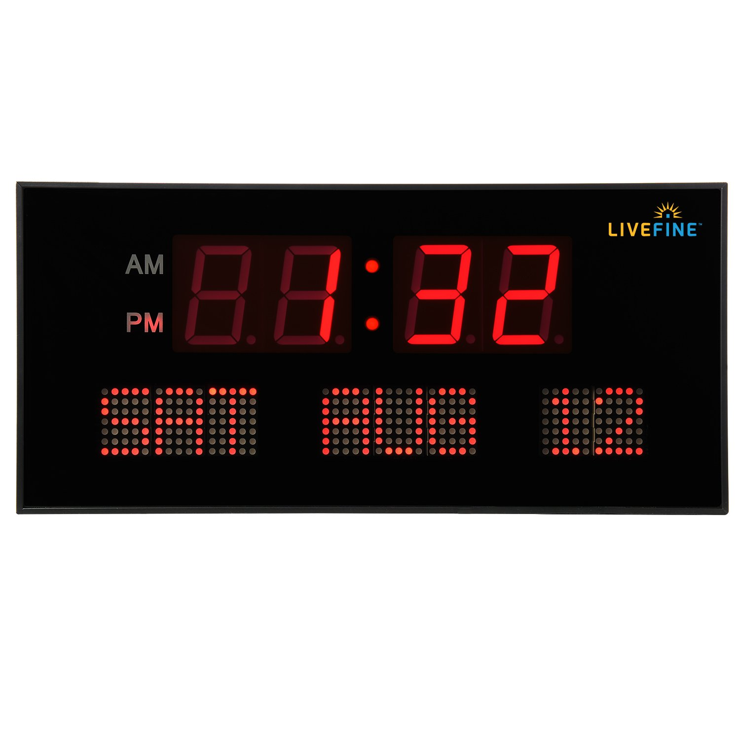 Amazon ivation big oversized digital red led calendar clock amazon ivation big oversized digital red led calendar clock with day and date shelf or wall mount home kitchen amipublicfo Image collections